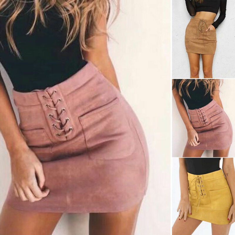 Hot Sale Women Leather Suede Lace Up Bandage High Waist Party Pencil Short Mini Skirt Ladies Womens Brief Solid Daily Skirts