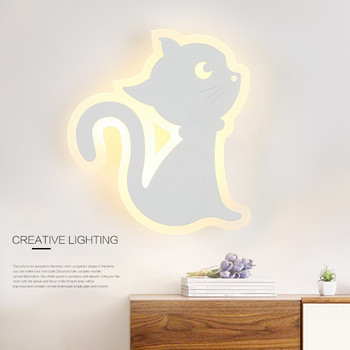 Cat Modeling Simple Modern Bedroom Bedside Wall Light Creative Aisle Lamp Children Room  Acrylic Light Cafe Lamp Free Shipping
