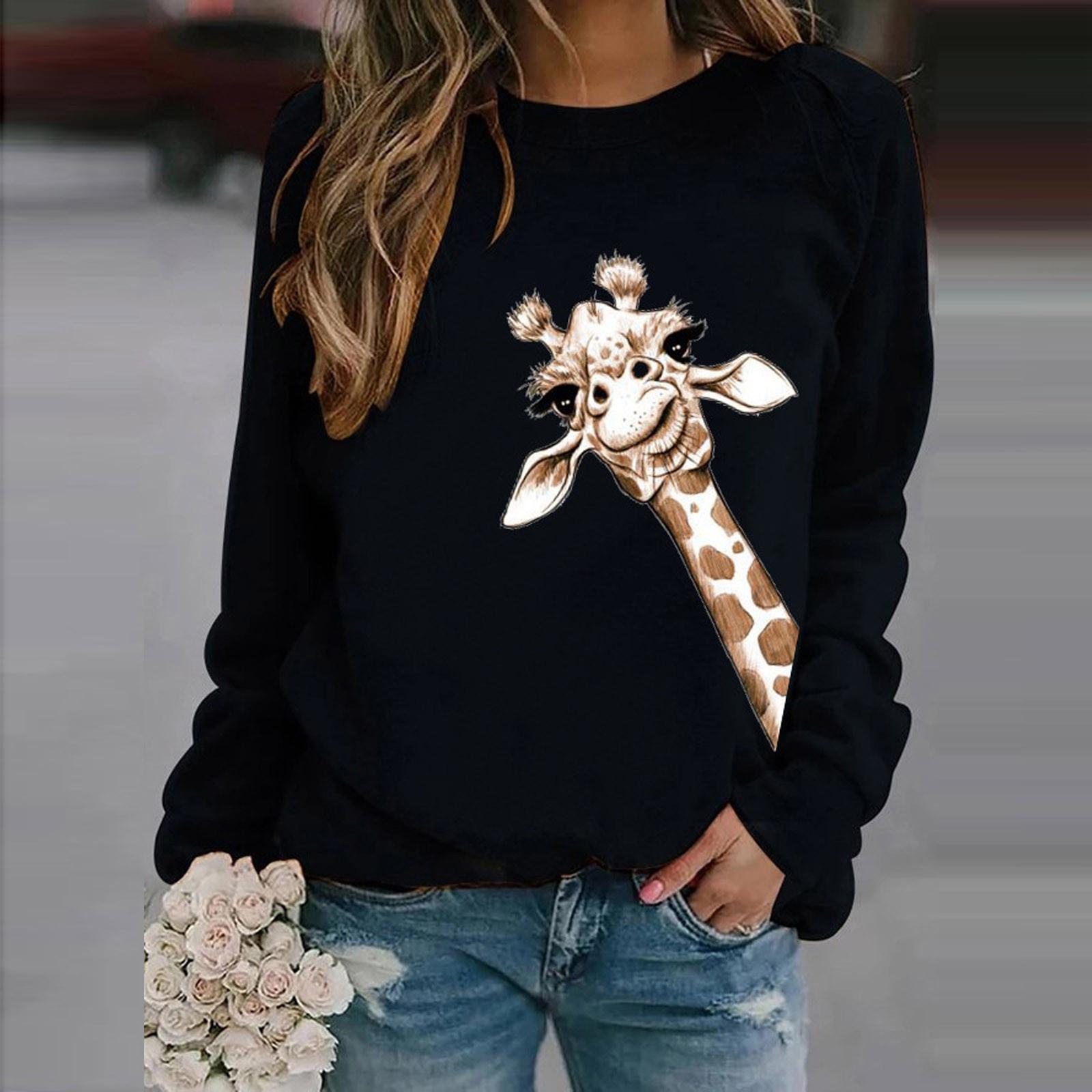 4# Womens Winter Sweaters Casual Long Sleeve Tops Ladies Giraffe Print Sweaters Tee Sweater Elegant Pullover Autumn Худи 2020