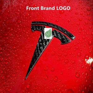 Image 2 - עבור טסלה דגם 3 סיבי פחמן דפוס קדמי אחורי T לוגו + היגוי גלגל T לוגו 3PCS