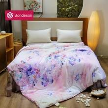 Sondeson Fashion Flower Warm 100% Silk Comforter/Blanket/Quilt/Duvet For Summer Winter Queen King Handmade Bedding Free Shipping
