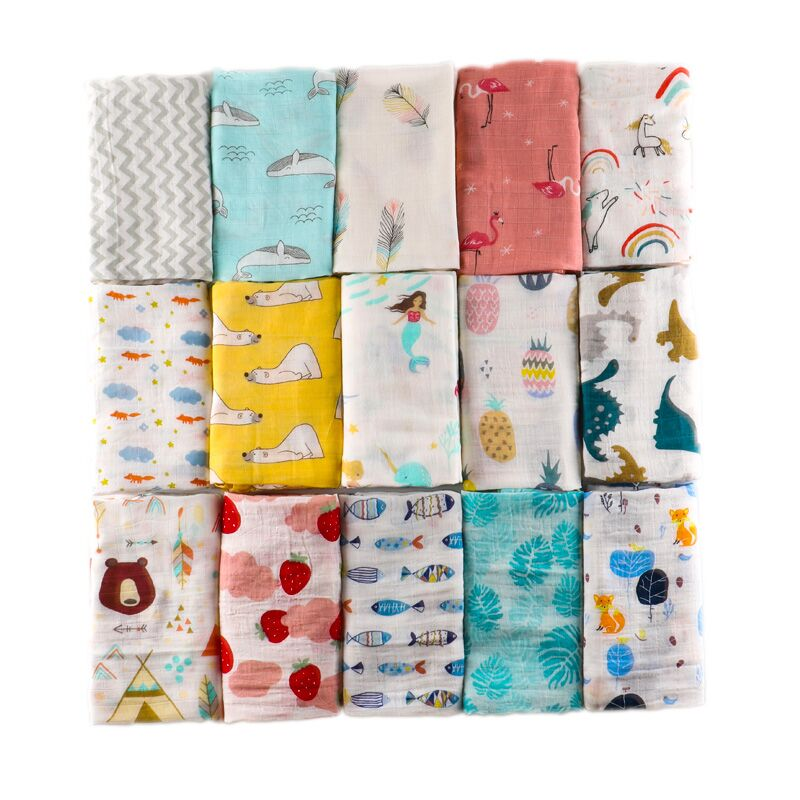 Muslin Blankets Baby Swaddle Wraps Animal Pattern Infant Bath Towel Cotton Soft Swaddle Balnket Baby Play Mat 120*110cm