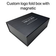 1000pcs custom box logo Paperboard Folding gift box Magnetic packaging hair wigs magnetic gift box T shirt box