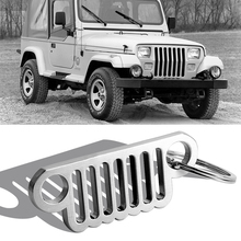 2019 new silver/Color 304 stainless steel grille metal keychain key chain ring for Jeep Wrangler JL CJ, JK, TJ, YJ XJ Armsky стоимость