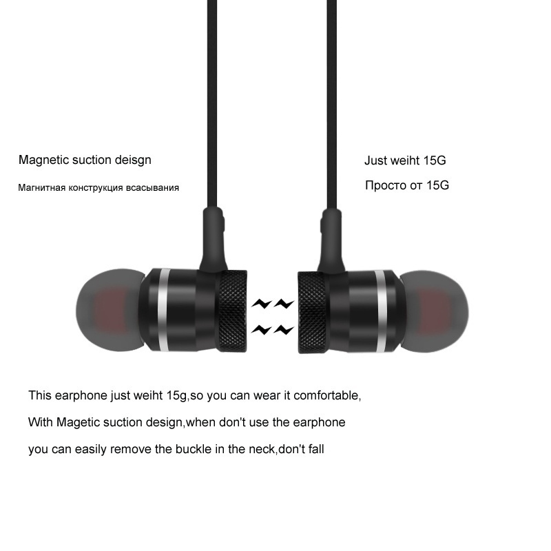 5.0 Bluetooth Earphone Sports Neckband Magnetic Wireless earphones Stereo Earbuds Music Metal Headphones With Mic For All Phones 4