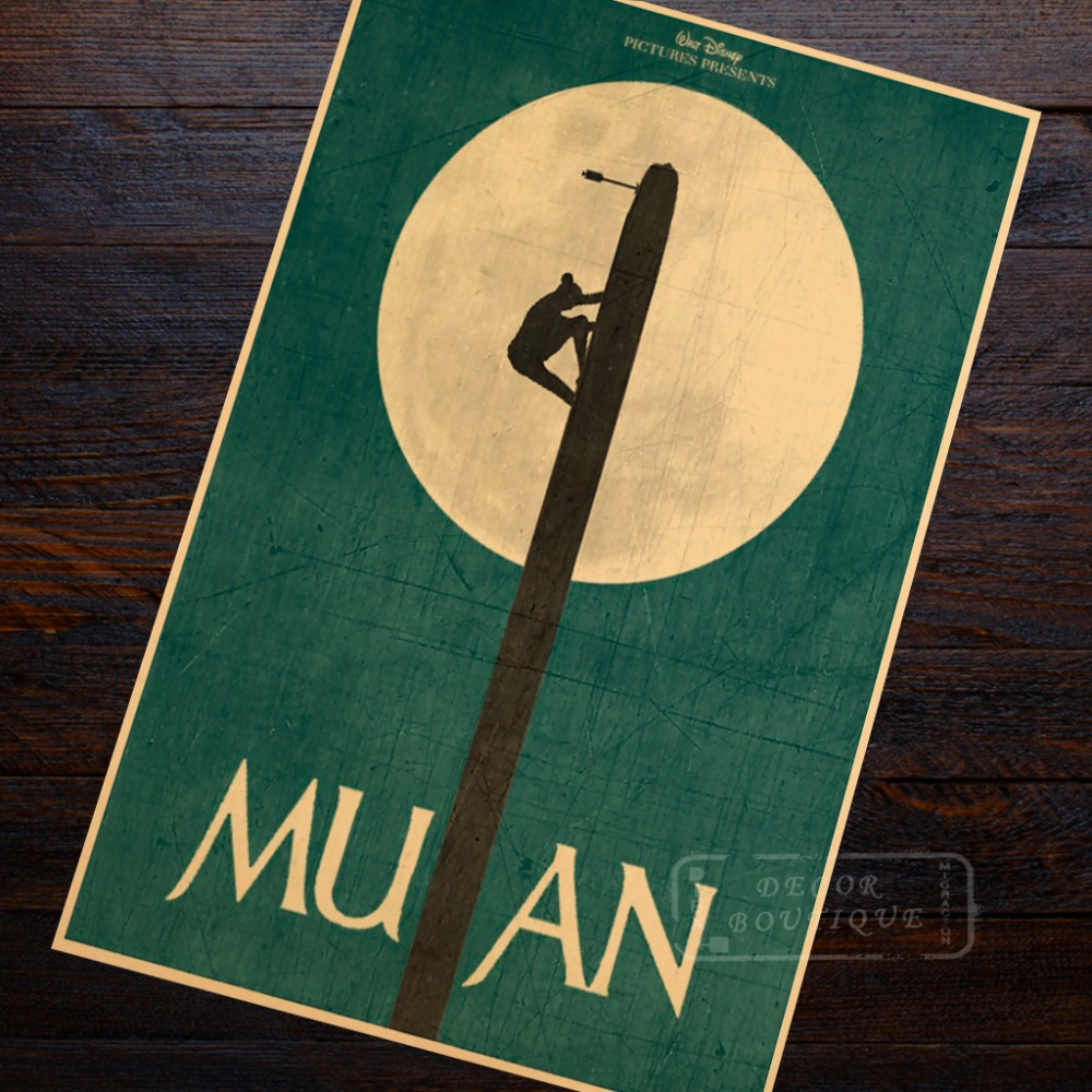 Minimalist Art Mulan Propaganda Vintage Kraft Poster Decorative DIY Wall Sticker Canvas Painting Home Bar Posters Decoration