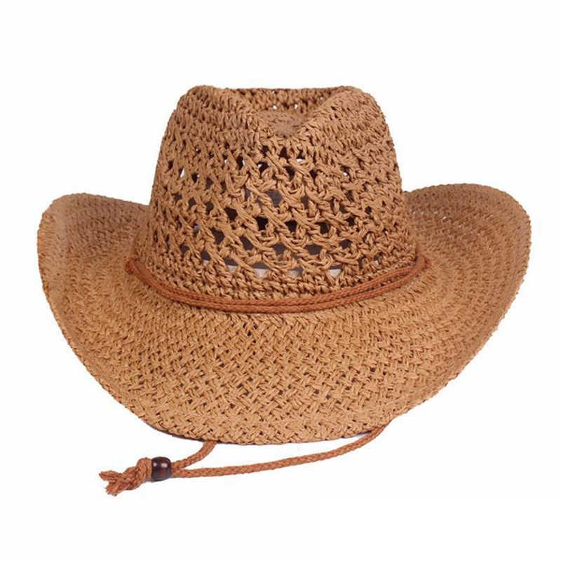 Sombrero de paja de malla Unisex de ala ancha de verano playa de viaje gorra de sol suave y transpirable Vintage y paja occidental de vaquero de moda sombrero