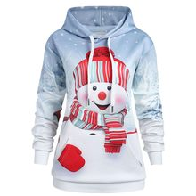 Christmas Sweatshirt Women Hoodies Big Pocket Cartoon Snowman Print Sweatshirts Pullover Top Evening Party Ladies Tops толстовка(China)
