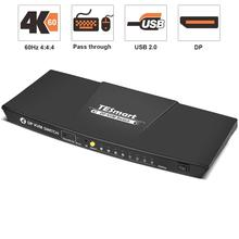 DisplayPort KVM Switch 4K@60Hz 4:4:4 Ultra HD   DP KVM Switch with Extra USB 2.0 Port Supports Auto Scan&IR Remo