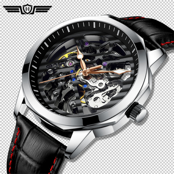 HAIQIN 2020 Skeleton watch men Automatic Mechanical brand Luxury Hollow men;s wristwatch waterproof Leather Tourbillon