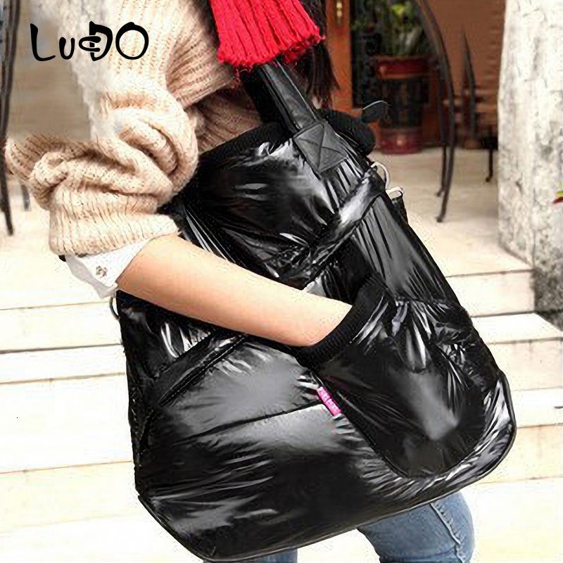 LUCDO Winter Women Space Cotton Handbags Bright Down Feather Padded Female Totes Bag Lady Shoulder Crossbody Mesager Bag Bolsas