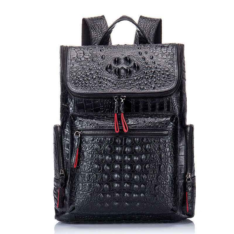 2020 New Genuine Leather Backpack Men Backpack Leather Crocodile Pattern Men's Leather School Bag European Tide Travel Bag Gift
