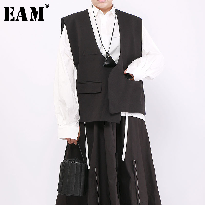 [EAM] Women Hooded Loose Black Pattern Printed Loose Fit Long Vest New Sleeveless Fashion Tide Spring Autumn 2019 1A001