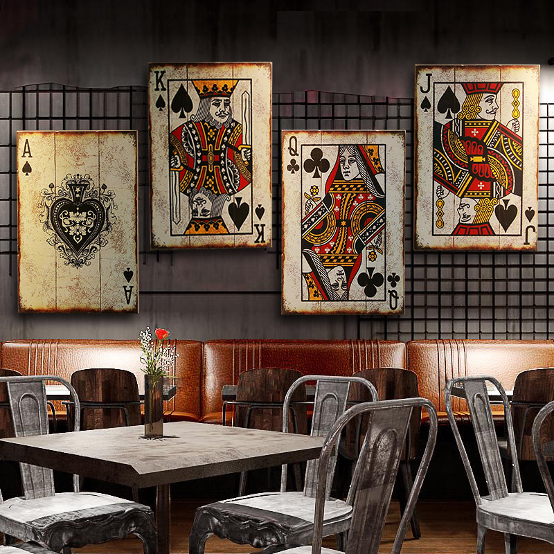 American Loft Mahjong Playing Cards Painting  Wooden Board Bar Internet Cafe Restaurant Wall Decor Hanging Painting Gift LB41717