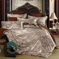Summer Bedding 4pcs Bedroom Queen Bed Cover Set Polyester Printed Quilt Comfortable Queen Size Quilt Cover Bed Cover Pillowcase 1
