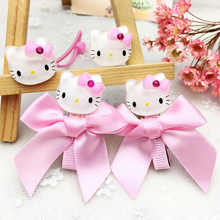 Hot Sale Cute Hello Kitty Hair Clips For Girls 100pc/lot Wholesale Acrylic KT Head Hairpins Barrette KIDS Accessories