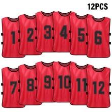 12 PCS ספורט אפוד ילד של כדורגל Pinnies מהיר ייבוש כדורגל גופיות נוער ספורט תגרת אימון ממוספר ליקוק בפועל
