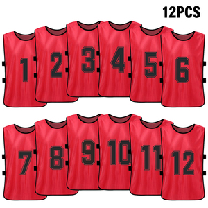 Image 1 - 12 PCS Sports Vest Kids Football Pinnies Quick Drying Soccer Jerseys Youth Sports Scrimmage Training Numbered Bibs Practice