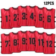 12 pçs colete esportivo pinnies de futebol do miúdo secagem rápida camisa de futebol jovens esportes scrimmage treinamento numerado babadores prática