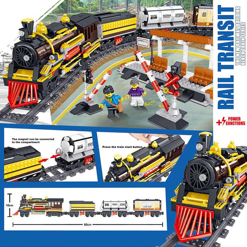 1464 pièces nouvelle technique à piles électrique LegoINGlys ville Train Rail blocs de construction briques noël cadeau jouets pour les enfants