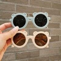 Gafas de sol redondas con forma de oso para niños y niñas, lentes de sol infantiles con marco de dibujos animados
