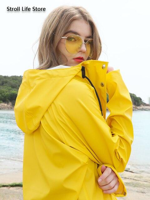 Yellow Women Long Rain Coat Men's Waterproof Raincoat Outdoor Rain Poncho Hiking Adult Rain Jacket Windbreaker Impermeable Gift 2