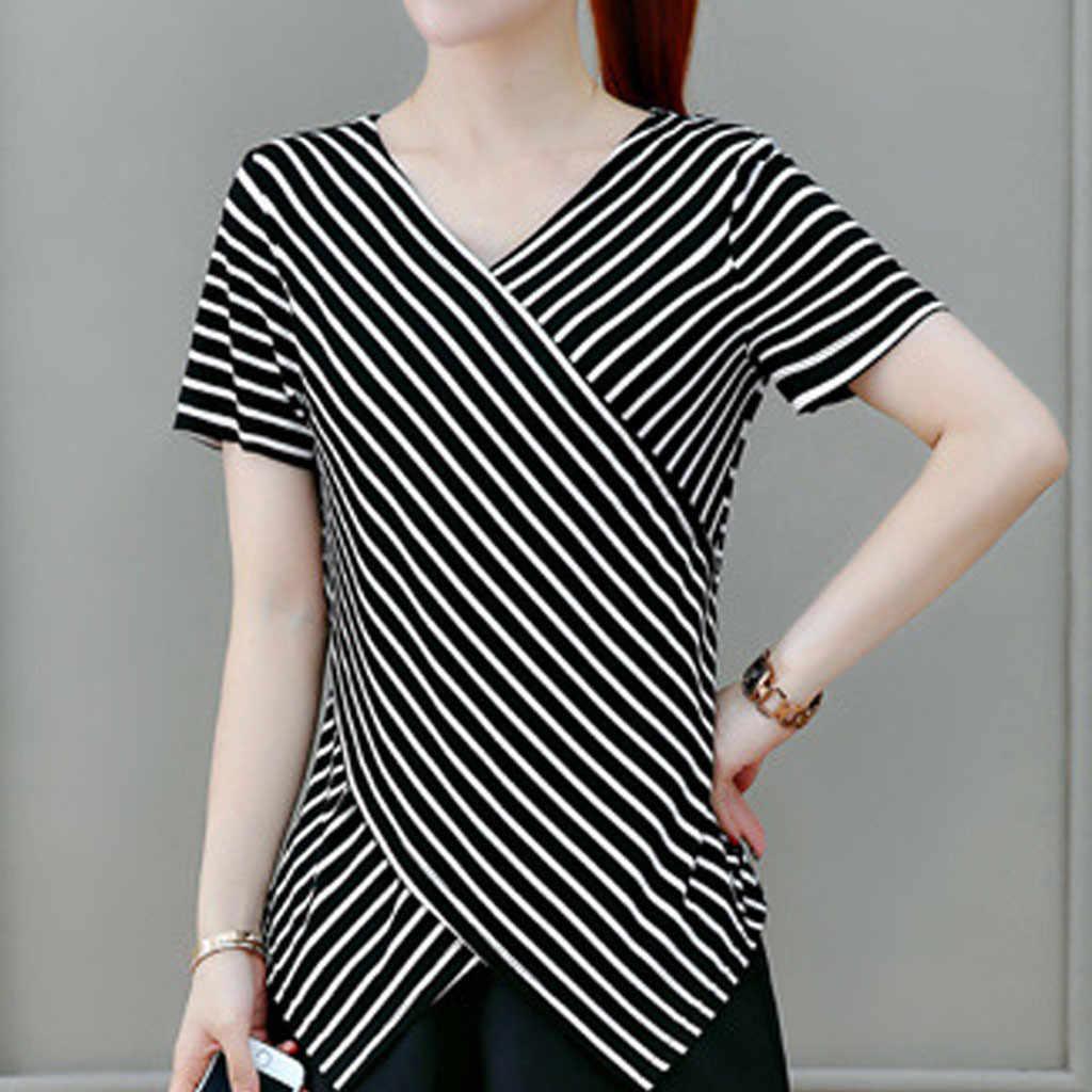 Stripe Women Blouses Short Sleeve Shirt Cotton Women Cloth Cherry Casual Ladies Tops Animal Print Blouse Plus Size 5xl 2020