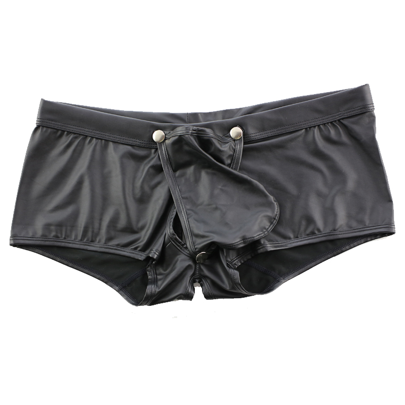 Men's Boxer Shorts gay big penis bag underwear Low waist buttons back empty erotic boxer cueca sexy hollow out Underpants shorts
