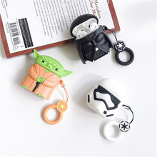 Hot 3D Star Wars Master Yoda Darth Vader Soft Silicon สำหรับ Apple AirPods 1 2 สำหรับ Air pods 2 ชุดหูฟังบลูทูธ coque(China)