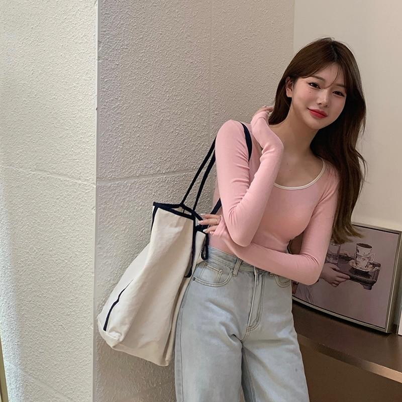 3 colors autumn korean style u neck womans tops color patchwork slim long Sleeve t-shirt Womens Tees shirt femme (R99359) 1