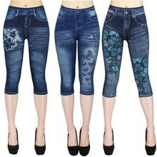 Summer 3\4 Leggings High Waist Jeggings Jeans for Women s Casual False Denim Legging Pants Femme Trending Products 2019 Clothes