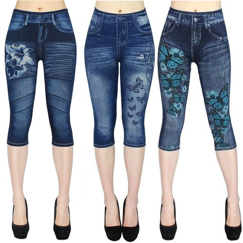 Summer 3\4   Leggings   High Waist Jeggings Jeans for Women 's Casual False Denim   Legging   Pants Femme Trending Products 2019 Clothes