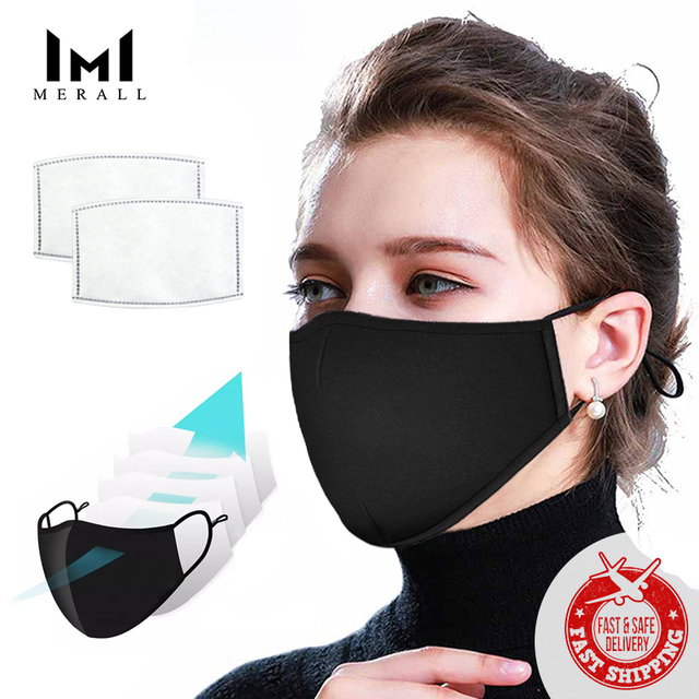 MERALL Cotton Adult Child Mouth Face Mask With  Activated Carbon Filter Mouth-muffle For Men Women Fashion Masks