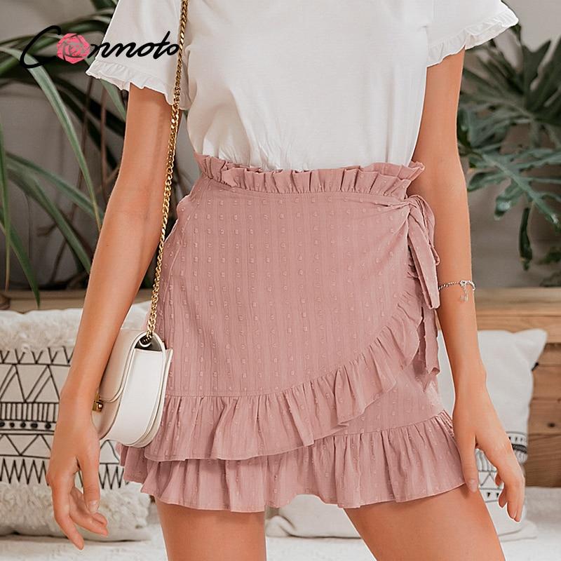 Conmoto Bow Mini Casual Solid Wrap Skirts Women Ruffles Vintage Skirts Feminino High Waist Beach Pink Short Femme Skirt