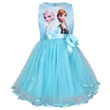 Disney congelado meninas vestido de princesa rendas vestidos de elsa para meninas presente de aniversário traje presente de natal vestido crianças roupas