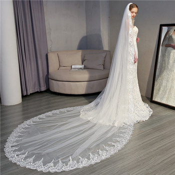 BGW 2283ht 3.5 Meters Tulle Lace Edge Wedding Veils Long White One Layer 2020 Bridal Veils For Wedding Free Shipping