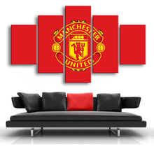 Manchester United Flag Wall Posters Football 5 Pieces Canvas Paintings Sports Art Prints Pictures Boys Bedroom Decor Frame