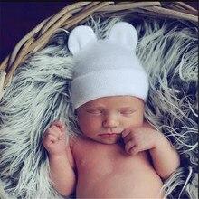 Зимняя теплая шапка для новорожденных унисекс, детские шапки с ушками, хлопковые кепки для девочек и мальчиков, шапочка для больницы, Bebe
