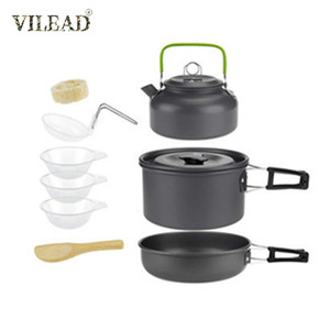 Image 1 - Vilead pote de acampamento portátil pan chaleira conjunto liga alumínio utensílios de mesa ao ar livre panelas 3 pçs/set bule cozinhar ferramenta para piquenique churrasco