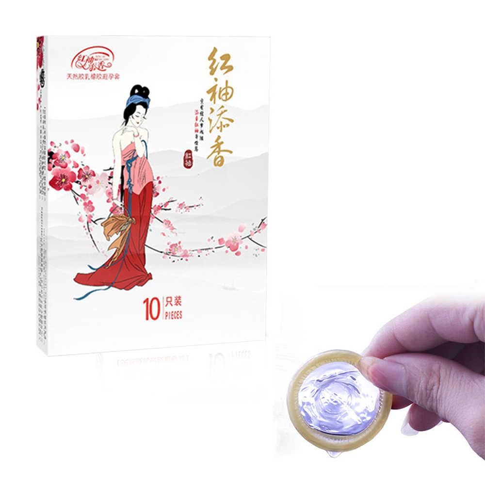 Kondom 10 Pack Lembut Lateks Karet Alam Dewasa Minyak Esensial Pria Transparan Tipis
