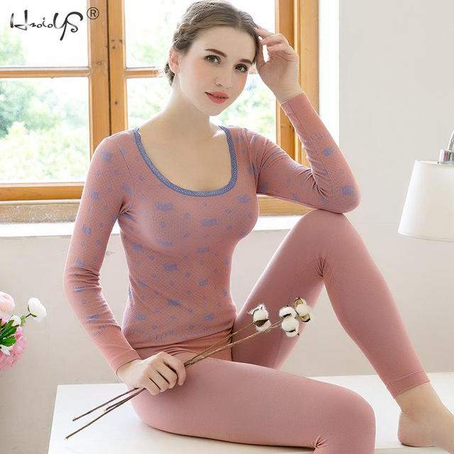 Conjunto de Roupa Interior Térmica 2019 Moda Slim Floral das mulheres Ultra Macio Roupa Interior Térmica Long Johns Conjuntos de Pijama Sleepwear Lingerie