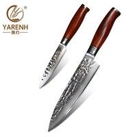 YARENH 2 Pcs Chef Knife Set   73 Layers Damascus Steel Kitchen Knives Sets   Dalbergia Wooden Handle   Sharp Utility Knife Set
