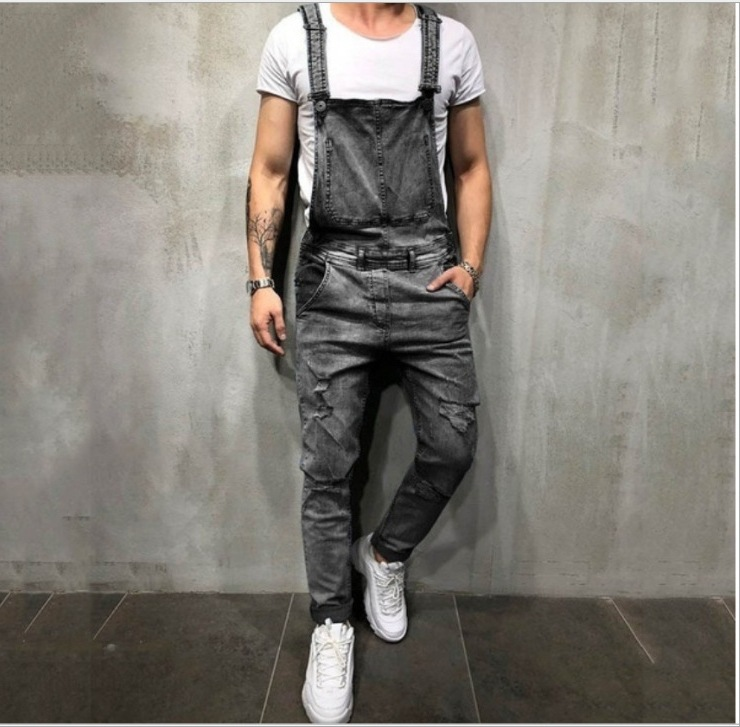 Wish Men Of Camisole Jeans Romper Ripped Denim Trousers Popular Work Clothes