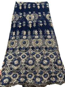 HFX Lace-Fabric Beaded Handmade Nigerian High-Quality African 5yard Fashion with H2965
