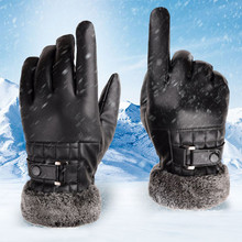 Men Winter Gloves Full Finger thick Plush Warm Motorcycle Ski Snow  Faux Fur Snowboard Buckle windproof guantes