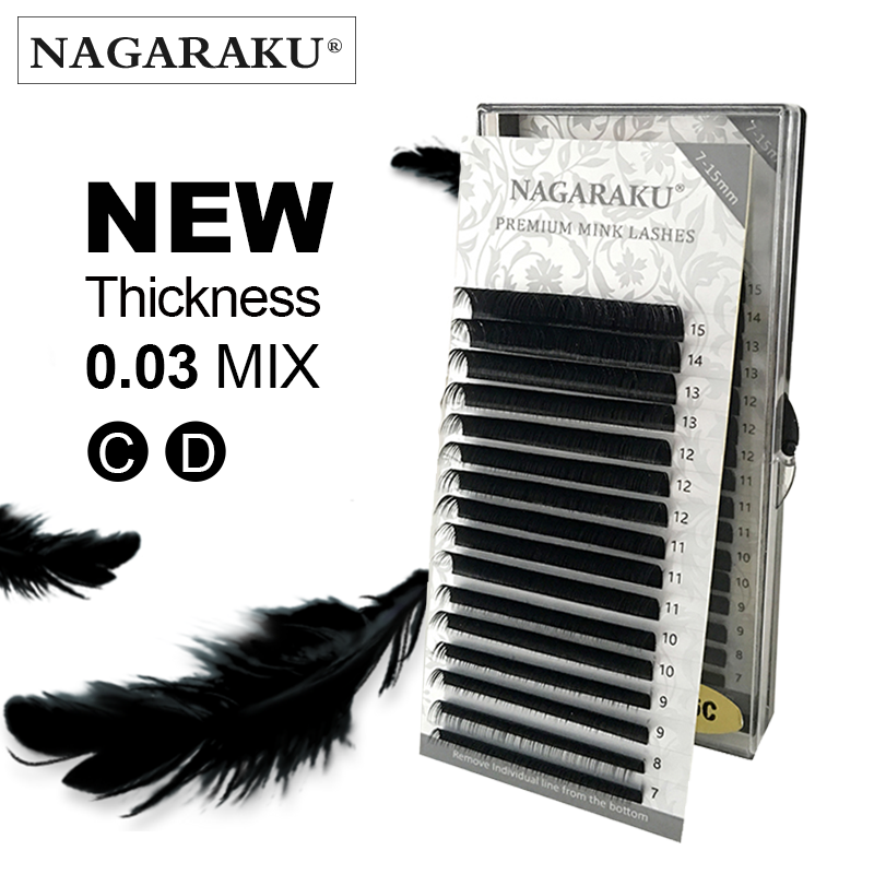 NANAGARAKU Eyelash Extension Makeup Cilios 0.03mm C D 16 Rows/case 7~15 mix Individual Lashes Premium Natural Synthetic Mink