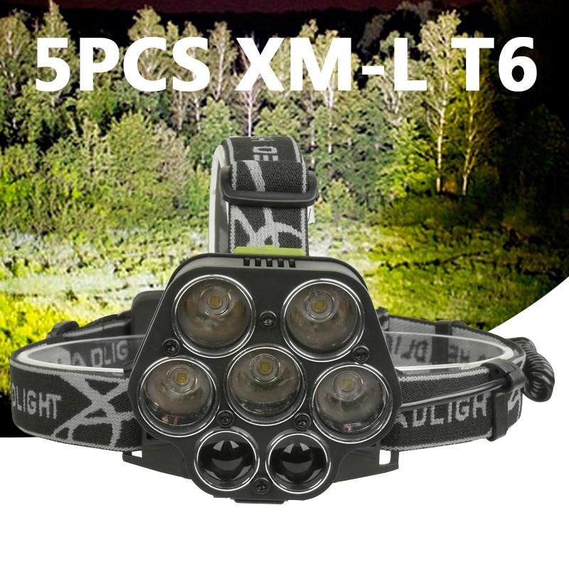 5pcs XM-L T6 + 2*XPE Z502507 Led Headlamp Micro USB Charger Headlight Head Lamp Portable Light Torch Lantern For Fishing