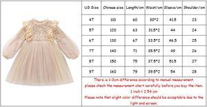 Image 5 - Платья для девочек с рукавами фонариками, праздвечерние чное весеннее детское кружевное платье принцессы с жемчугом, фиолетовое и белое искусственное платье