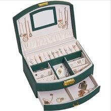 Nova plataforma dupla couro jóias caixa de armazenamento grande capacidade com gaveta titular da orelha