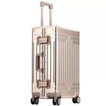 Nieuwe Top Kwaliteit 100% Aluminium Magnesium Reizen Bagage 20/24/28 Inch Merk Trolley Koffer Spinner Boarding Rollende Bagage